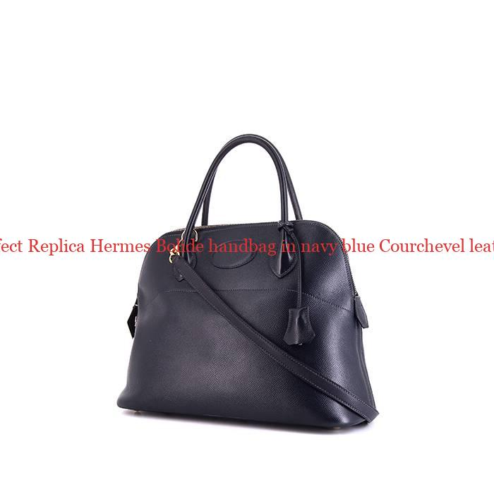 2737b9bd019 Perfect Replica Hermes Bolide handbag in navy blue Courchevel leather