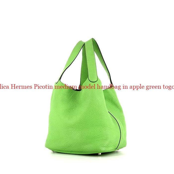 753e4c8088b2 UK Replica Hermes Picotin medium model handbag in apple green togo leather