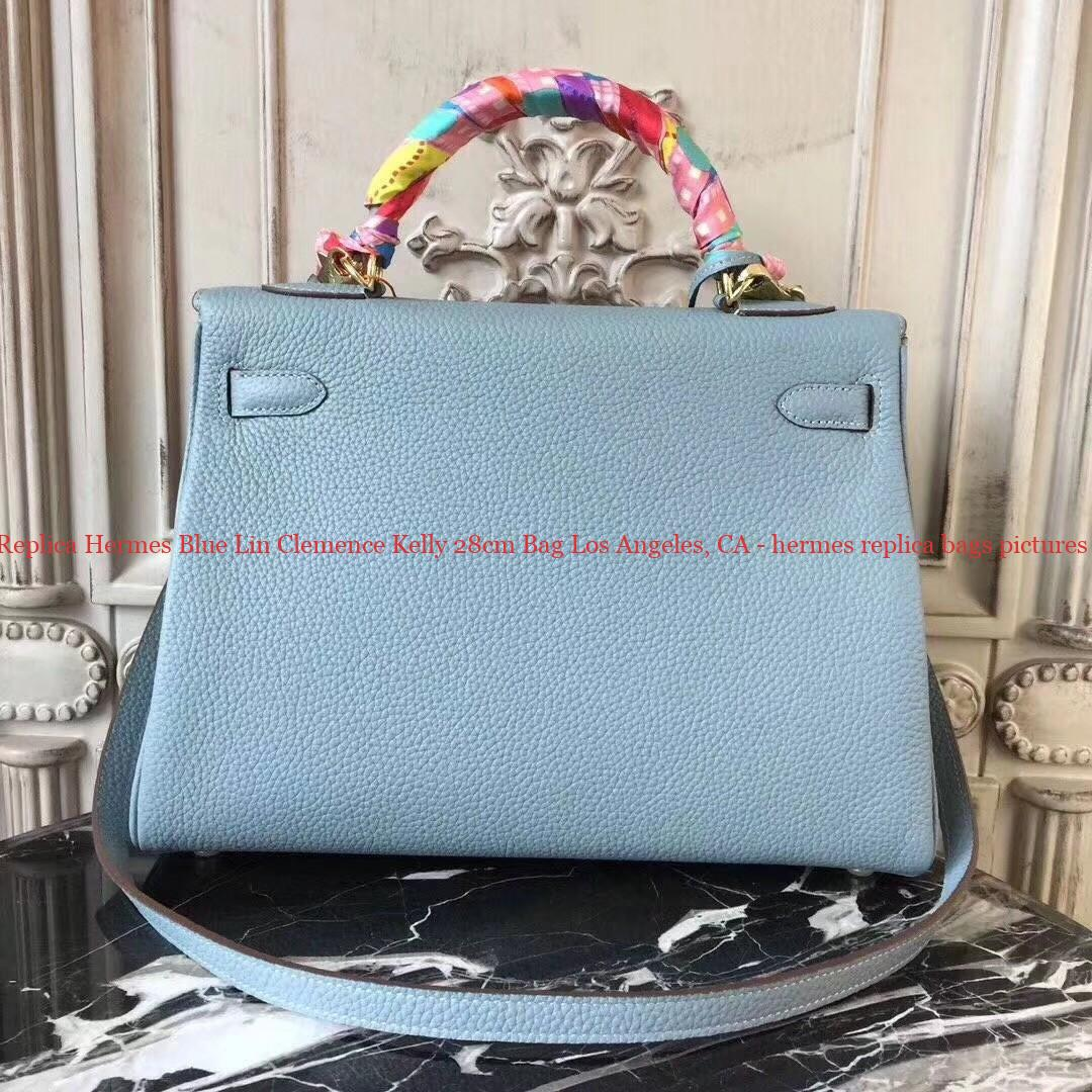 6ec8ac13d4c7 7 Star Replica Hermes Blue Lin Clemence Kelly 28cm Bag Los Angeles ...